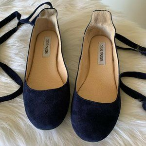 Steve Madden Blue Bloome Suede Wrap Ballet Flats
